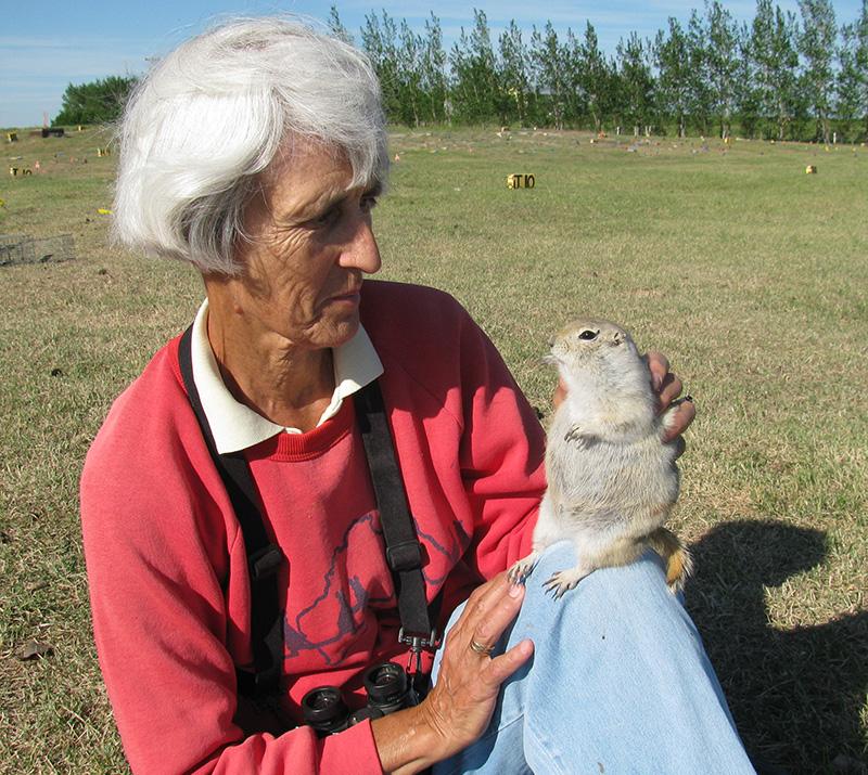 Gail Michener with a rotund ground squirrel.