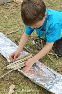 Child building a dam.