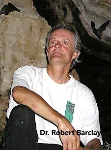 Dr. Robert Barclay sitting in a bat cave with bats flying overhead