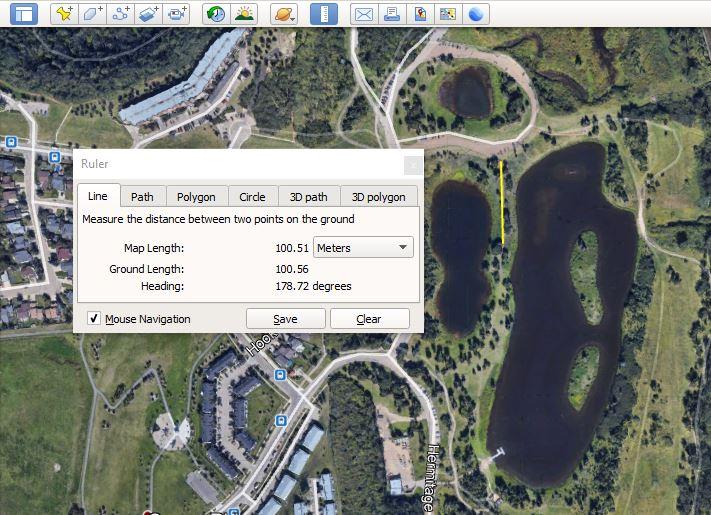 100 m measured on google earth